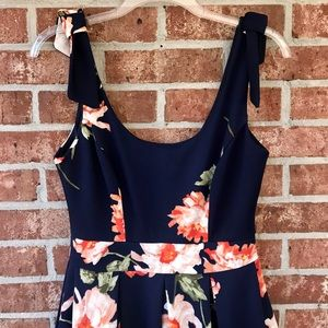 Navy dress with floral design